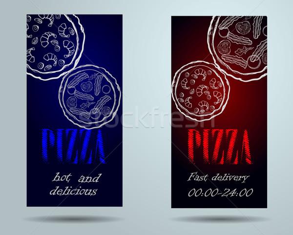 Stok fotoğraf: Pizza · gıda · menü · kafe · broşür · vektör