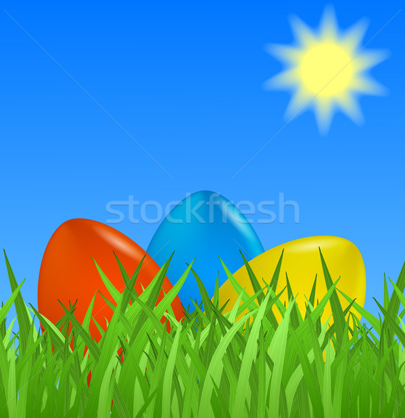 Easter background with colorful eggs Stock photo © blotty