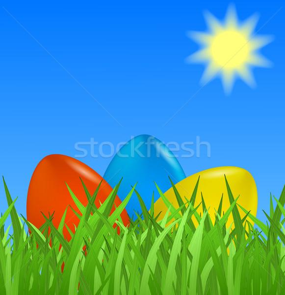 Foto stock: Páscoa · colorido · ovos · grama · papel · primavera