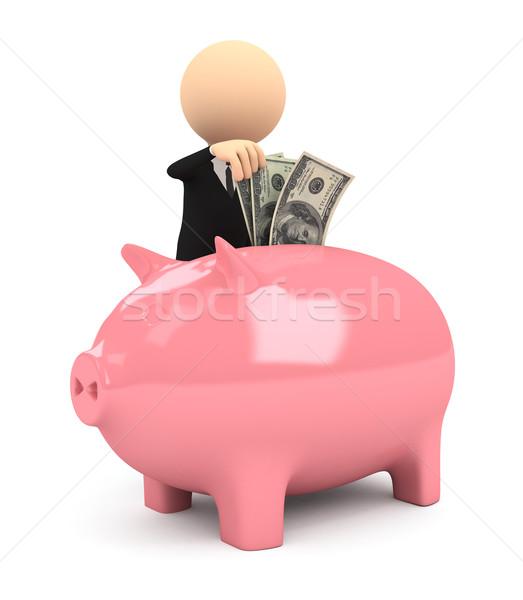 3d persoon spaarvarken witte computer gegenereerde afbeelding Stockfoto © blotty