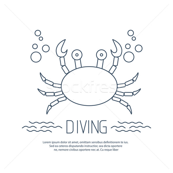 Diving icon with crab and bubbles Stock photo © blotty