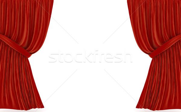 Foto stock: Rojo · cortinas · blanco · 3D · prestados · imagen