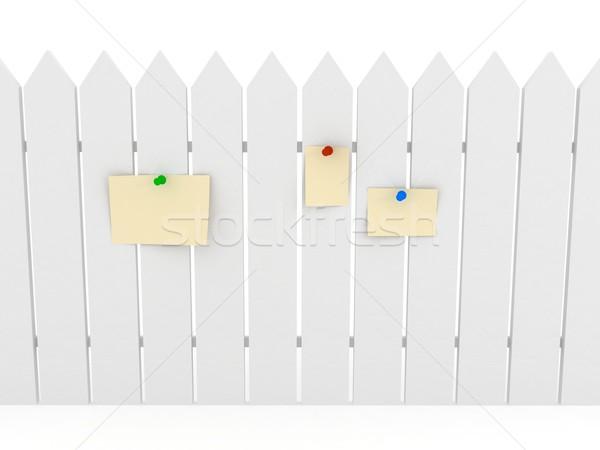 белый забор 3D оказанный изображение текстуры Сток-фото © blotty
