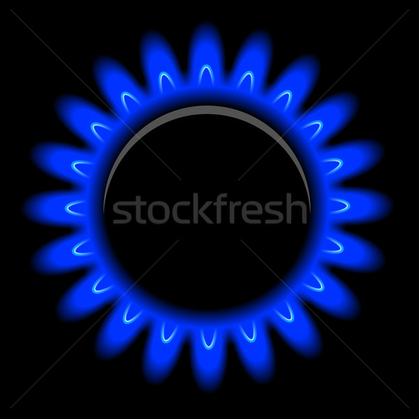 Vector flames of gas on black Stock photo © blotty