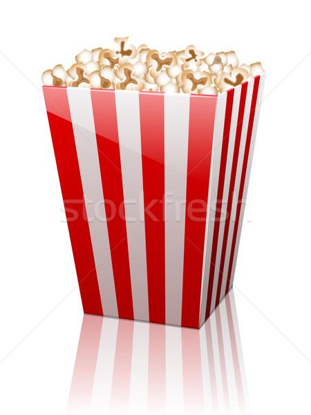 Torby papierowe pełny popcorn biały odizolowany papieru Zdjęcia stock © blotty