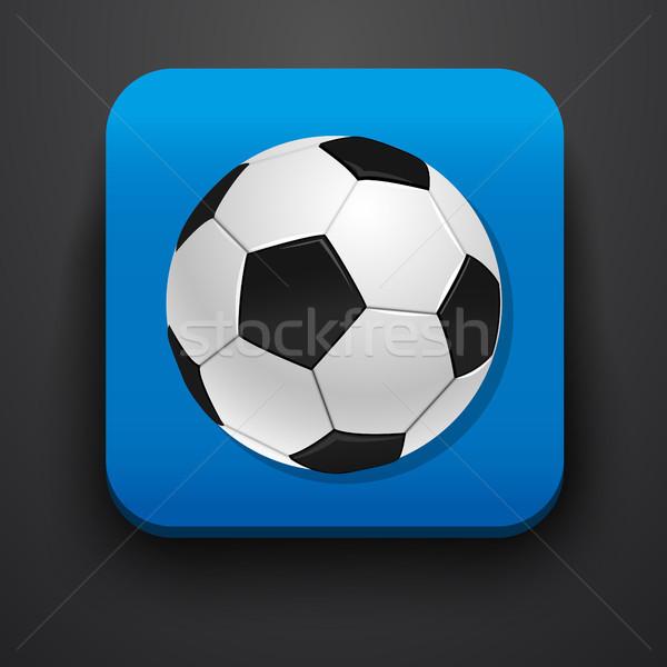 Voetbal symbool icon Blauw computer kantoor Stockfoto © blotty