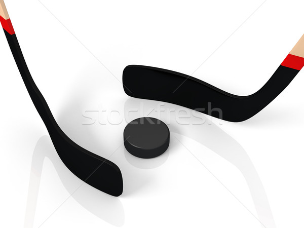 close up of an ice hockey stick and puck Stock photo © blotty