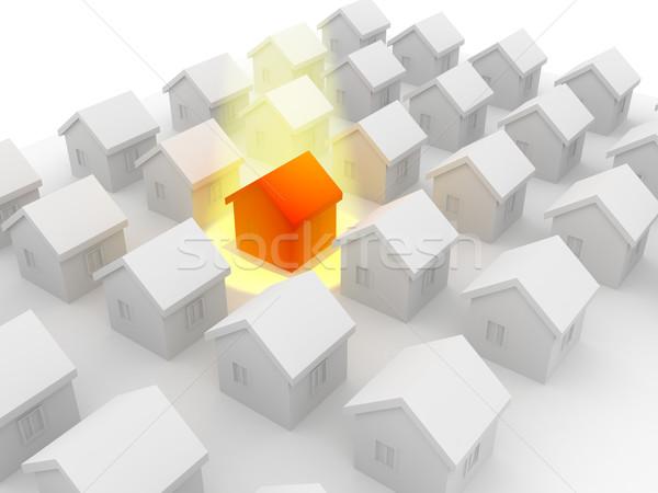 группа домах продажи 3d визуализации строительство модель Сток-фото © blotty