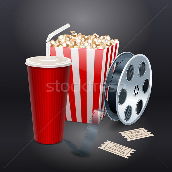 Movie showing with Popcorn, film reel and drinks Stock photo © blotty