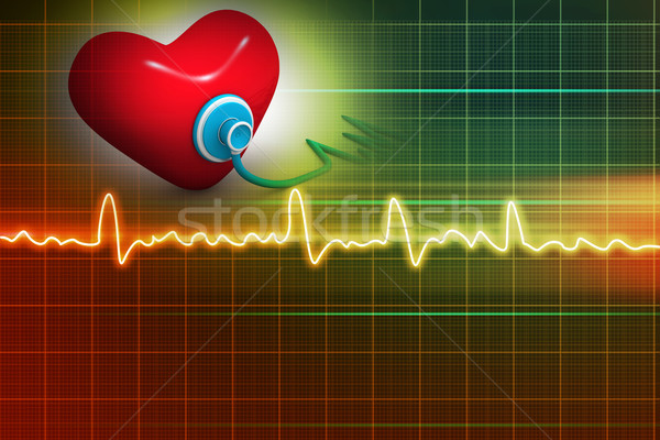 Cardiogram, love and stethoscope on abstract background  Stock photo © bluebay