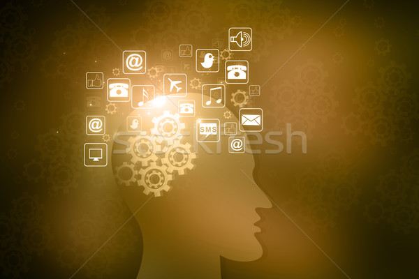Human head with internet icons  Stock photo © bluebay