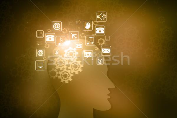 Menselijke hoofd internet pictogrammen business muziek achtergrond Stockfoto © bluebay