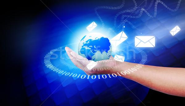Ludzka ręka świat telekomunikacja technologii strony Zdjęcia stock © bluebay