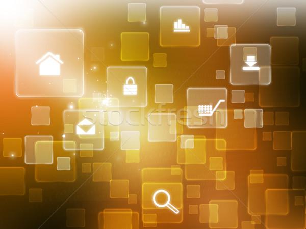 Интернет иконы цифровой интернет аннотация домой технологий Сток-фото © bluebay