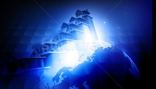 Aarde gebouwen stad kaart natuur wereld Stockfoto © bluebay
