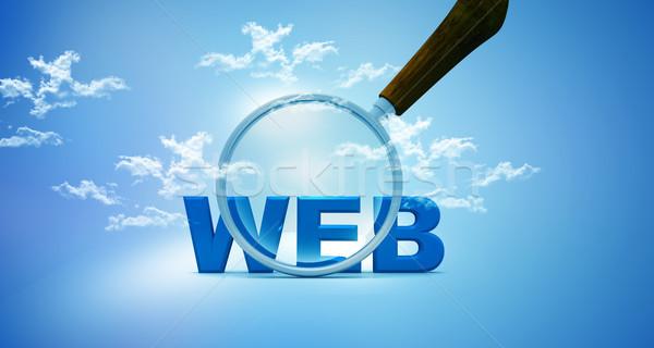 веб увеличительное стекло небе бизнеса здании технологий Сток-фото © bluebay