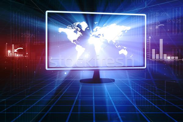 Global business Internetu działalności komputera pracy Pokaż Zdjęcia stock © bluebay