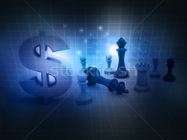 chess game and dollar sign on abstract background  Stock photo © bluebay
