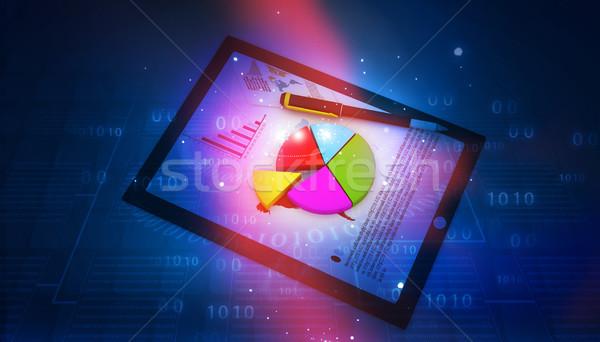 Táblagép pénzügyi táblázatok absztrakt üzlet iroda Stock fotó © bluebay