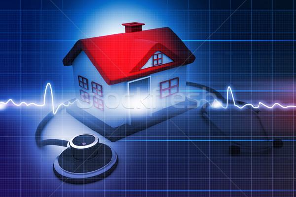 Domu stetoskop streszczenie medycznych lekarza budowy Zdjęcia stock © bluebay