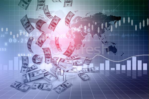 Dolar deszcz finansów wykresy działalności papieru Zdjęcia stock © bluebay