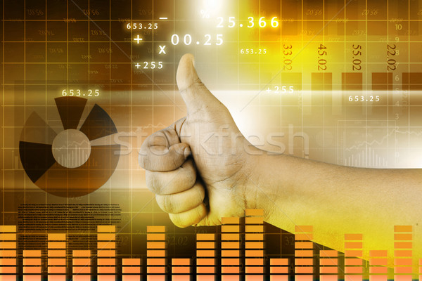Businessman thumb up. businessman approving a chart Stock photo © bluebay