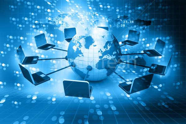 глобальный компьютер сеть аннотация мира ноутбука Сток-фото © bluebay