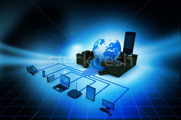 Computer Network and internet communication concept on abstract background  Stock photo © bluebay