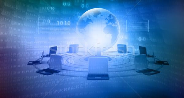 глобальный компьютер сеть аннотация Tech мира Сток-фото © bluebay