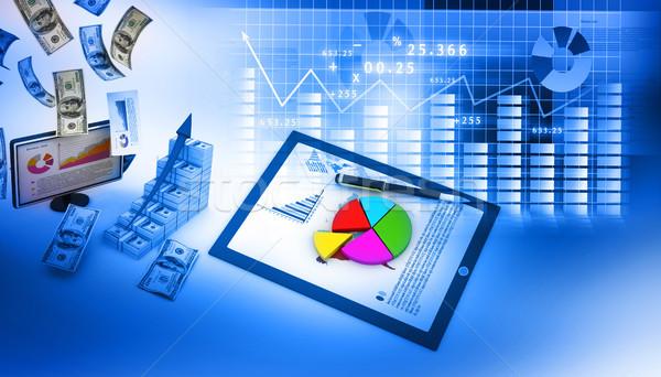 Działalności wykresy komputera biuro tabeli monitor Zdjęcia stock © bluebay