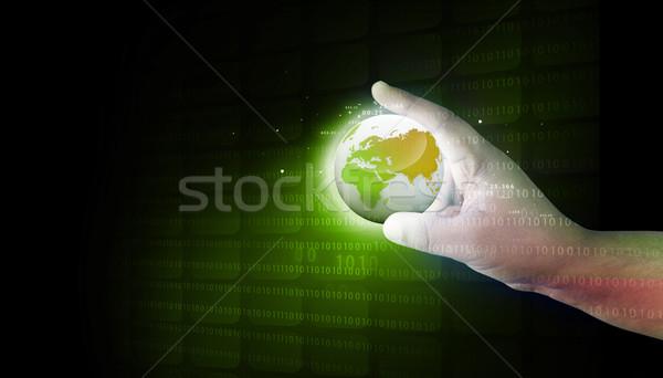 Ludzka ręka cyfrowe świat Internetu świecie Zdjęcia stock © bluebay