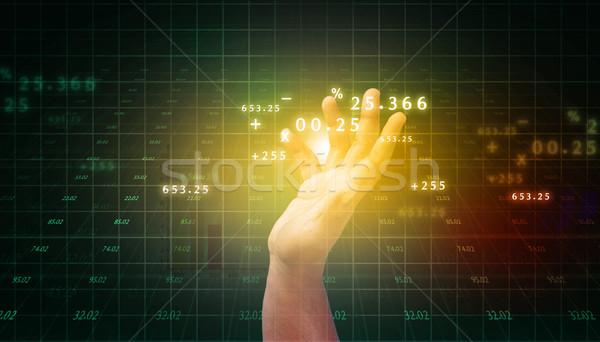 Człowiek dotknąć działalności postęp wykres Internetu Zdjęcia stock © bluebay