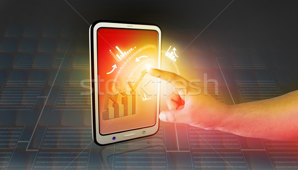 Business graphs and charts being demonstrated on the screen of a touch-pad Stock photo © bluebay