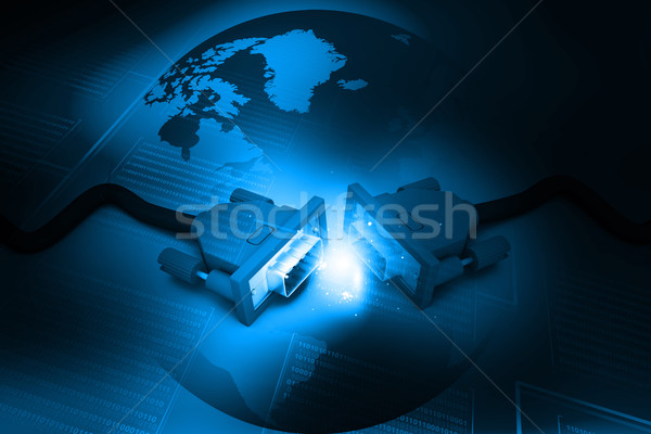 Komputera kabli świecie streszczenie cyfrowe Zdjęcia stock © bluebay