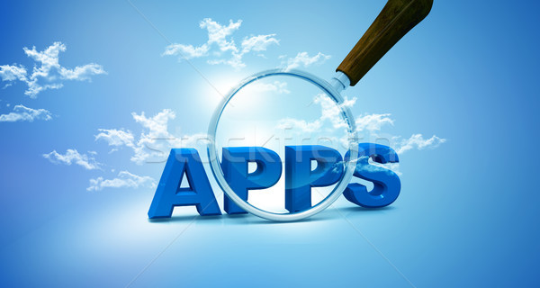 Apps and magnifying glass on sky background  Stock photo © bluebay