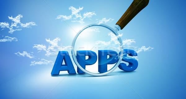 приложения увеличительное стекло небе интернет облаке программное Сток-фото © bluebay