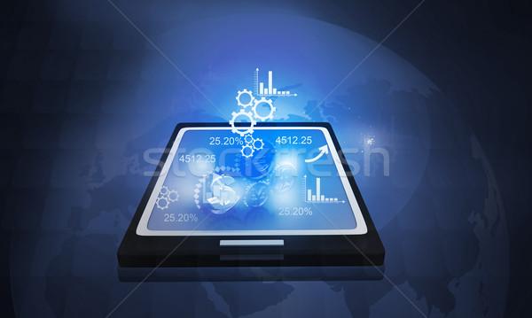 бизнеса иконки интернет фон ноутбук Сток-фото © bluebay