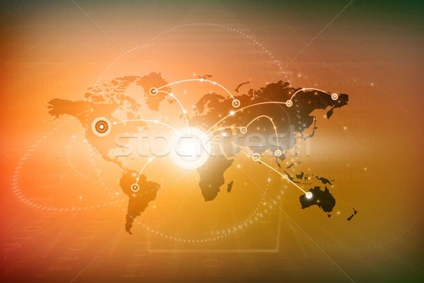 Global networking internet global de negócios globalização mapa Foto stock © bluebay