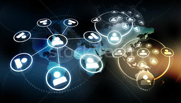 Globális üzlet hálózat üzlet földgömb világ háttér Stock fotó © bluebay