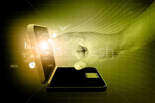 Biznesmenów strony ekran dotykowy wykres laptop działalności Zdjęcia stock © bluebay