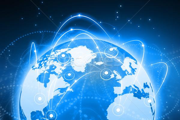 Global business sieci globalizacja świat niebieski zespołu Zdjęcia stock © bluebay