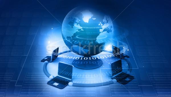 Globalny komputera sieci streszczenie tech świecie Zdjęcia stock © bluebay