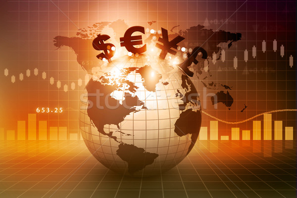 Currency symbols on Earth. Financial background 		 Stock photo © bluebay