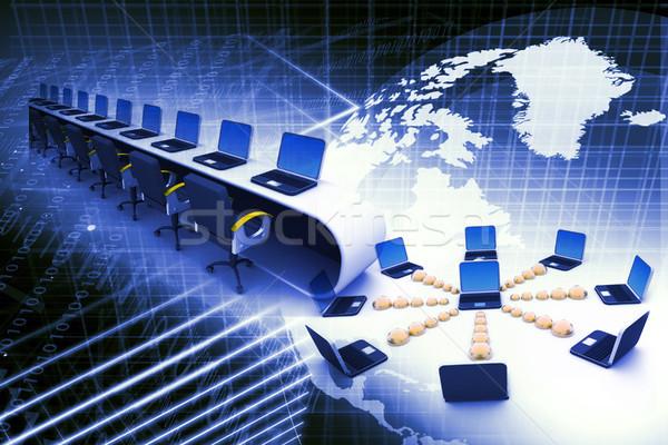 Globalny komputera sieci streszczenie świecie laptop Zdjęcia stock © bluebay