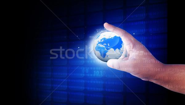 Ludzka ręka cyfrowe świat świecie tle Zdjęcia stock © bluebay