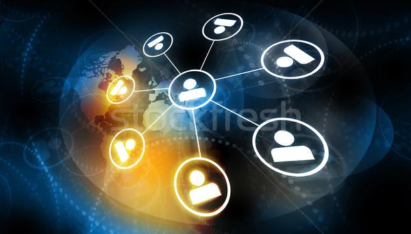 Global business sieci działalności świecie świat tle Zdjęcia stock © bluebay