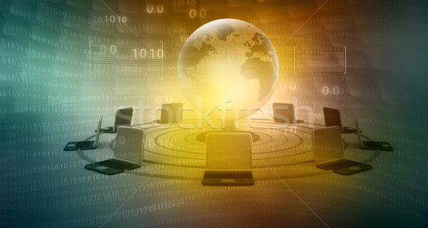 global computer network on abstract tech background  Stock photo © bluebay