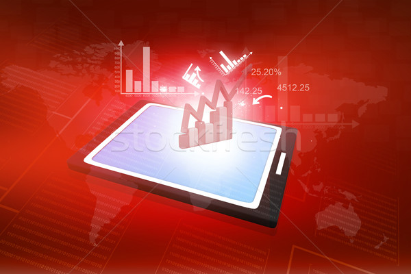 computer tablet PC showing a spreadsheet with some business charts Stock photo © bluebay