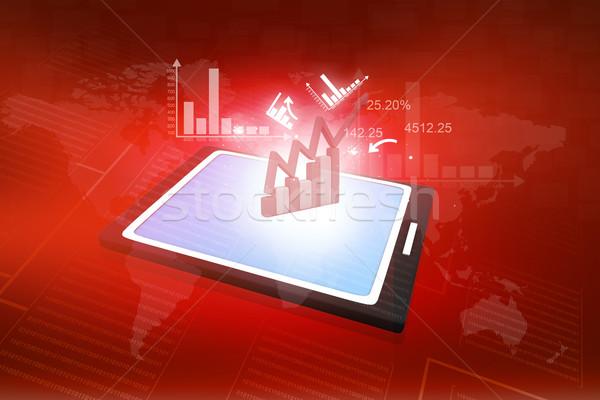 Komputera arkusz kalkulacyjny działalności wykresy Zdjęcia stock © bluebay