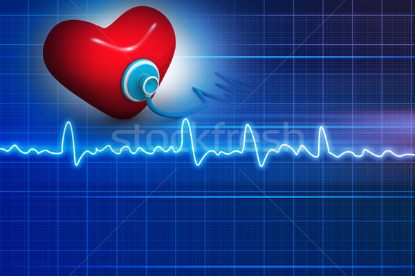 Stock photo: Cardiogram, love and stethoscope on abstract background